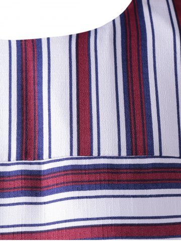 Latest Fashionable Stripe Splicing Dress For Women - XL RED WITH WHITE Mobile