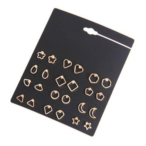 Discount 12 Pairs Geometric Star Moon Cut Out Stud Earrings