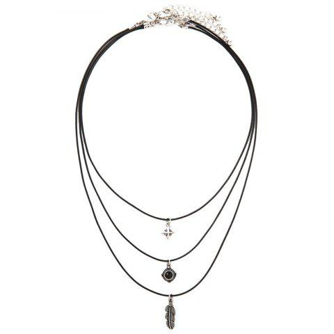 Shop Layered Faux Gem Feather Necklace