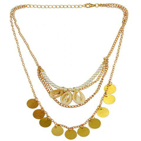 Fashion Vintage Faux Pearl Shell Coins Necklace GOLDEN