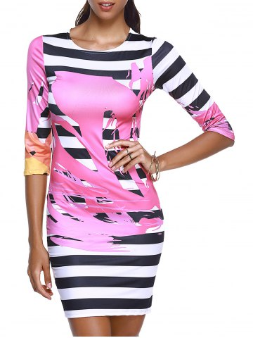 Outfits Chic Round Collar Print Striped Women's Bodycon Dress WATER RED L