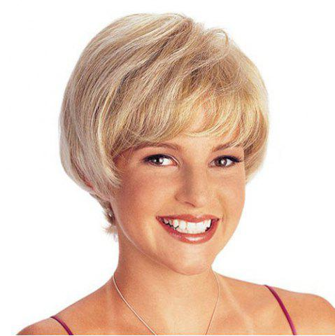 Outfit Elegant Short Capless Light Blonde Mixed Straight Synthetic Wig For Women