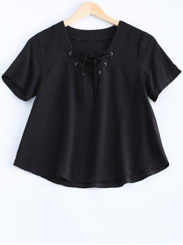 Shop Fashionable V-Neck Short Sleeved Lace Up Blouse For Women