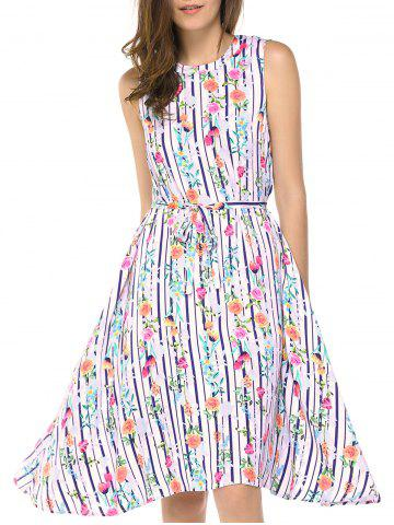 Shop Fashionable Round Neck Sleeveless Flowers Print Dresses STRIPE L