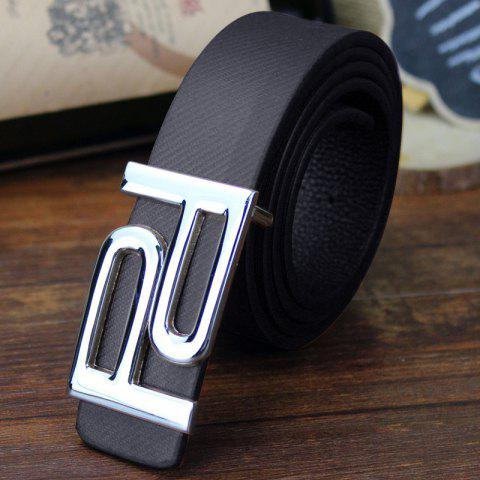 Fashion Stylish Hollow Out Double Letter P Shape Embellished PU Belt For Men