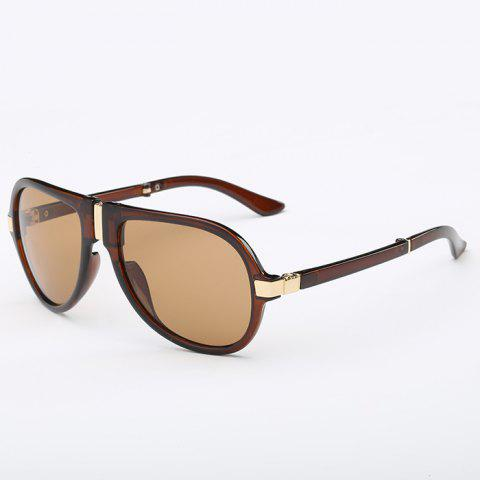 Trendy Alloy Nose Bridge Splicing Design Unisex Tea-Colored Pilot Sunglasses - TEA COLORED