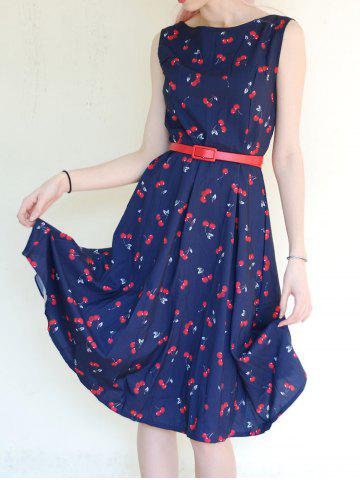 Shop Jewel Neck Sleeveless Vintage Cherry Print Flare Dress For Women
