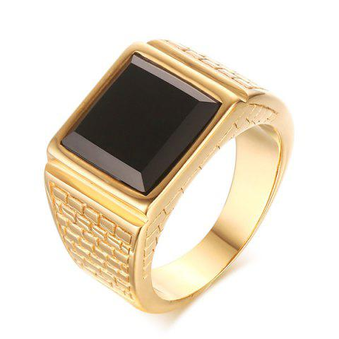 Shops Trendy Faux Gem Square Shape Woven Carved Ring For Men