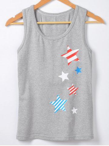 Outfit Star Stripe Print Casual Tank Top GRAY L