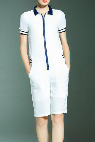 Latest Preppy Style Front Zip Romper