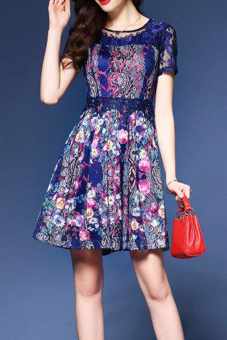 Cheap Lace Insert Print Mini Dress