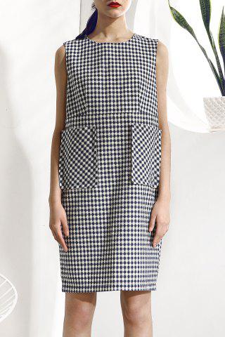 Buy Sleeveless Big Pocket Plaid Dress