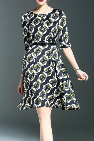 Latest Belted Printed A Line Dress