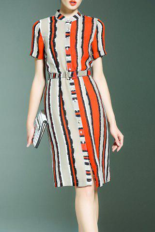 Outfits Striped Single Breasted Dress