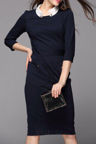 Shops OL Style Contrast Collar Sheath Dress
