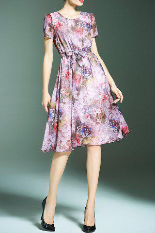 Best Flower Print Chiffon Dress with Belt