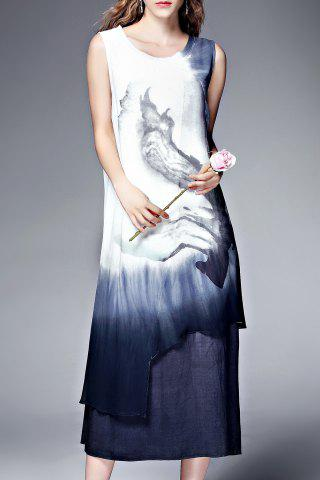 Hot Double Layer Ink Painting Tank Dress