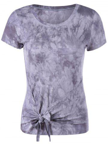Unique Fashionable Round Collar Short Sleeve T-Shirt GREY/WHITE S