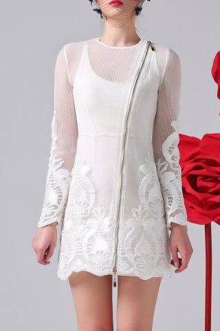 Discount Zippered 3D Embroidery Dress