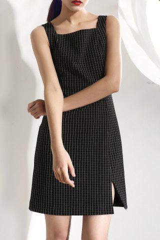 Affordable Sleeveless Square Neck Check Dress
