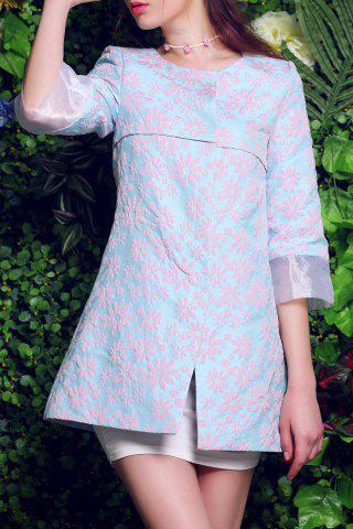 Discount 3/4 Sleeve Floral Embroidered Dress