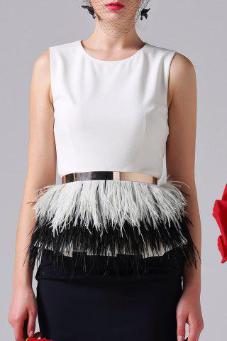 Latest White Fitting Feather Tank Top