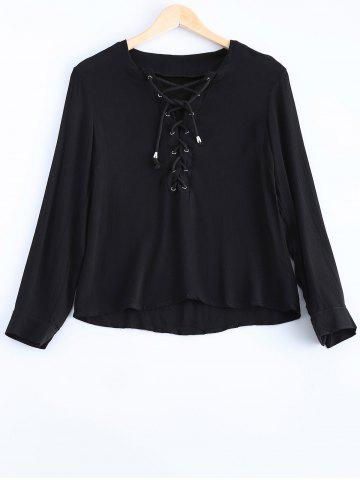 Trendy Chiffon Lace Up Long Sleeves Blouse