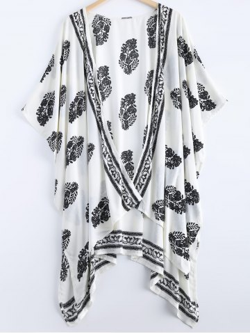 Affordable Asymmetric Summer Floral Print Kimono Cover Up WHITE M