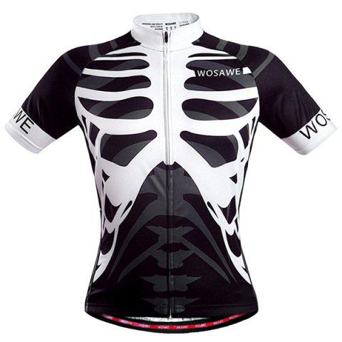 Discount High Quality Skeleton Pattern Full Zipper Short Sleeve Summer Cycling Jersey For Men WHITE AND BLACK 2XL