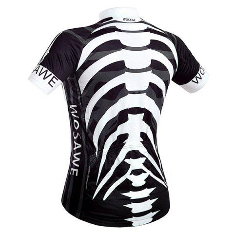 Store High Quality Skeleton Pattern Full Zipper Short Sleeve Summer Cycling Jersey For Men - XL WHITE AND BLACK Mobile