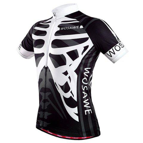 New High Quality Skeleton Pattern Full Zipper Short Sleeve Summer Cycling Jersey For Men - XL WHITE AND BLACK Mobile