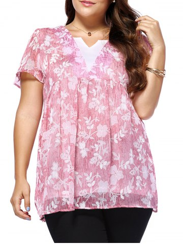 Trendy Sweet Plus Size V Neck Tiny Flower Pattern Women's Blouse PINK 5XL