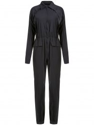 Stylish Low-Cut Solid Color Long Sleeve Elastic Waist Jumpsuit For Women -