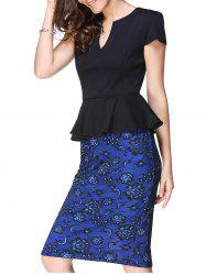 Peplum Midi Sheath Dress - BLUE AND BLACK L