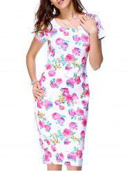 Sweet Scoop Neck Short Sleeve Floral Print Back Slit Dress For Women