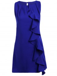 Stylish Scoop Neck Flounce Sleeveless Dress For Women -