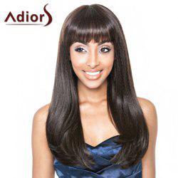 Stylish Straight Tail Adduction Synthetic Long Full Bang Dark Brown Adiors Wig For Women