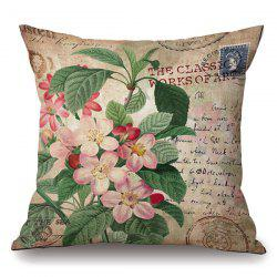 Retro Flower Stamp Letter Pattern Square Shape Pillowcase -