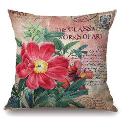Retro Floral Stamp Letter Pattern Square Shape Pillowcase