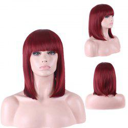 Stylish Straight Full Bang Medium Sythetic Cosplay Wig For Women - WINE RED