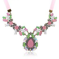 Gorgeous Diamante Colored Faux Gemstone Embellished Waterdrop Shape Pendant Necklace For Women -