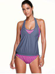 Halter Stripe Print Tankini Bathing Suits -