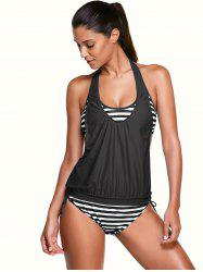 Halter Stripe Print Tankini Bathing Suits - BLACK