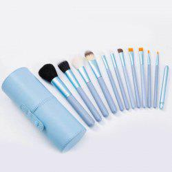 Stylish 12 Pcs Multifunction Soft Wool Fiber Face Lip Eye Makeup Brushes Set with Brush Holder