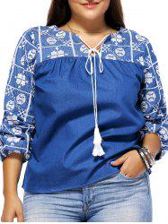 Bohemian Style Plus Size Tie Front Tribal Pattern Women's Blouse -