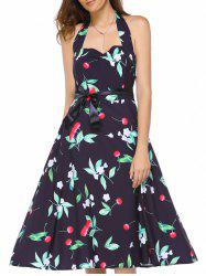 Retro Halter Sweetheart Neck Cherry Printed Dress For Women -