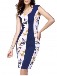 Stylish V-Neck Sleeveless Floral Print Color Block Dress For Women -