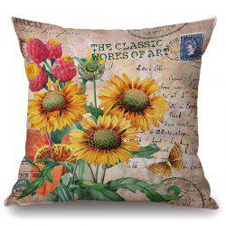 Retro Sunflower Butterfly Stamp Letter Pattern Pillowcase