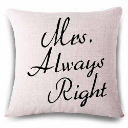 Simple Style Letters Pattern Linen Square Shape Pillowcase - OFF-WHITE