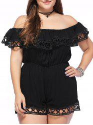 Casual Plus Size Off-The-Shoulder Hollow Out Women's Romper -